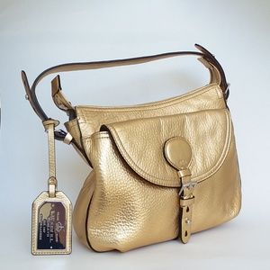 Ralph Lauren Golden Leather Hobo Satchel Bag Purse